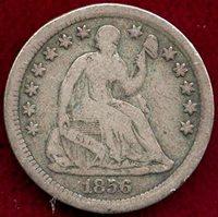 1856 SEATED 1/2 DIME FINE+