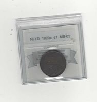 1920c, Coin Mart Graded Newfoundland Large Cent, **MS-62**