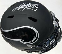 ADRIAN PETERSON #28 MINNESOTA VIKINGS BLACK ICE SIGNED FOOTBALL HELMET PSA/DNA