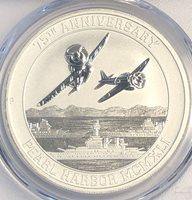 Tuvalu, 2016-P 1 Dollar,1 Ounce 9999 Silver, 75th Anniv Pearl Harbor, PCGS MS-70