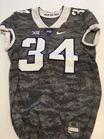 Game Worn Used Nike TCU Horned Frogs Football Jersey #34 Size 40 Frogskin