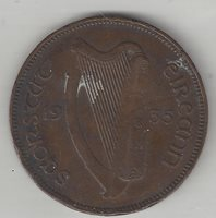 IRELAND, 1935, HALF PENNY, BRONZE, KM#2, VERY FINE-EXTRA FINE+ (See Notes )