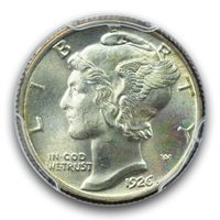 1926 10C Mercury Dime PCGS MS66FB
