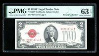 DBR 1928-F $2 Legal STAR Fr. 1507* PMG 63 EPQ Serial *03441747A