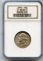 1955 Washington Silver Quarter NGC MS66 Philadelphia Mint