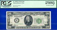 *Top Pop FR-2055-E 1934-A $20 FRN (( Richmond )) PCGS 67PPQ # E71325982AA