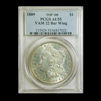 1889 Morgan Dollar AU-55 PCGS (VAM 22 Bar Wing Top 100) - SKU#189709