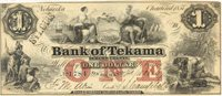 Tekama Bank of Tekama 1857 $1 T-146 1 85-G8a -- Small varying size irregular margins, cut in at the upper left side with a St. Louis hand stamp on the obverse, clean AU+