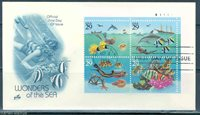 UNITED STATES 29c WONDERS OF THE SEA PLATE BLOCK ON ARCRAFT FIRST DAY COVER