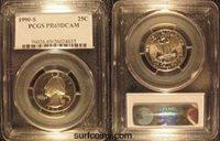 1990 S PCGS PR 69 DCAM Proof Washington Quarter
