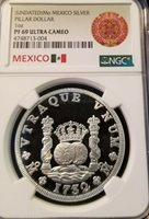 UNDATED MEXICO SILVER PILLAR DOLLAR 1 OZ NGC PF 69 ULTRA CAMEO SCARCE MEDAL !