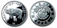 Liberia 2000 Chinese Lunar-Zodiac Series Pig Five Dollars BU