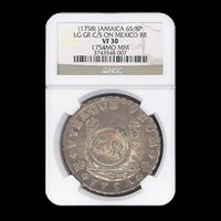 1758 Jamaica 6 Schilling on Mexican 8 Reales VF-30 NGC (1754MO) - SKU#168898