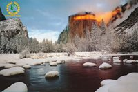 LOT OF 2 POSTERS: PHOTO : YOSEMITE PARK IN WINTER FREE SHIP ! #2244 RC44 H