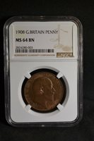 1908 Great Britain Penny, NGC MS64 BN, Edward II, Very Nice Bronze Coin