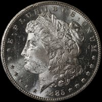 1885-CC GSA Morgan Silver Dollar NGC MS62PL Original Ship Box and Card