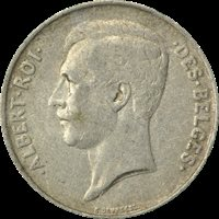 1911 BELGIUM SILVER 1 FRANC, Albert I (French text), FINE