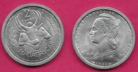 MADAGASCAR FRENCH COLONY 2 FRANCS 1948 UNC LIBERT BUST LEFT,CONJOINED OX HEADS F