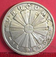 1969 URUGUAY MIL PESOS SILVER COIN KM# 55