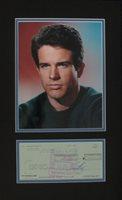 Warren Beatty Signed Authentic Autographed Check Matted w/Photo PSA/DNA #B78775