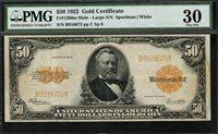 1922 $50 Gold Certificate Mule - FR-1200m - PMG 30 - Very Fine