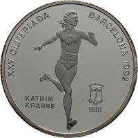 1992 Equatorial Guinea Large Silver Proof 7000 Fr Olympic Runner Katrin Krabbe