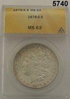 1878 S MORGAN SILVER DOLLAR ANACS CERTIFIED MS63 FLASHY! #5740