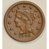 1c One Cent Penny 1848 VF30 recut 2nd 8 mlk choc color