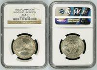 Weimarer republic Ngc zertifiziert Weimarer republic 3 mark 1930 A Rheinlandräumung J 345 silver Silver