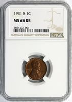 1931-S 1c Lincoln Cent NGC MS65RB