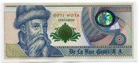 De La Rue Giori Specimen Test Trial UNC Banknote Opti Nota Gutenberg Uniface
