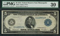 1914 $5 Federal Reserve Note Minneapolis FR-877 - PMG 30 Very Fine - Scarce!