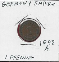 GERMANY EMPIRE 1 PFENNIG 1898-A RULER WILHELM II,LARGE CROWNED IMPERIAL EAGLE WI