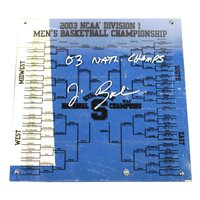 Jim Boeheim Signed Syracuse Basketball Engraved 12x12 Bracket w/ 03 National Champs Insc (Signed In Silver)