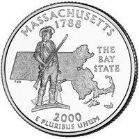 USA quarter coin, 25 cents, Massachusetts, 2000