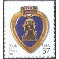 #3784 Purple Heart, S-A Die-cut 11¼x10¾ (2003)