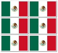 3x5 Inch STICKER Flag Vinyl Bumper Country Mexican decal - MEXICO, 6 Pack