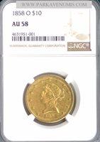 1858-O $10 Liberty AU58 NGC