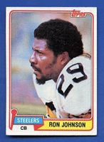 1981 Topps # 278 Ron Johnson Pittsburgh Steelers VG/EX+ additional ship free