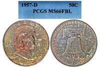 1957-D FRANKLIN PCGS MS 66 FBL