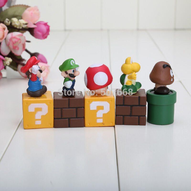 "Set Of 5 2/"" Birthday Cake Topper Figurines Set Mario Bros /& Friends"