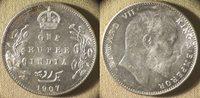 India : British 1907(c) 1 Rupee BU Tone Area Rev Lots Of Luster #508 IR8320