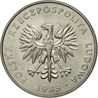 Coin, Poland, 20 Zlotych, 1989, Warsaw, EF(40-45), Copper-nickel, KM:153.2