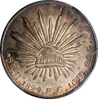 MEXICO. 8 Reales, 1894-Ho FG. Hermosillo Mint. PCGS MS-63 Gold Shield.