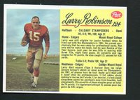 1963 Post Canadian Football Card #124 Larry Robinson-Calgary Stampeders.