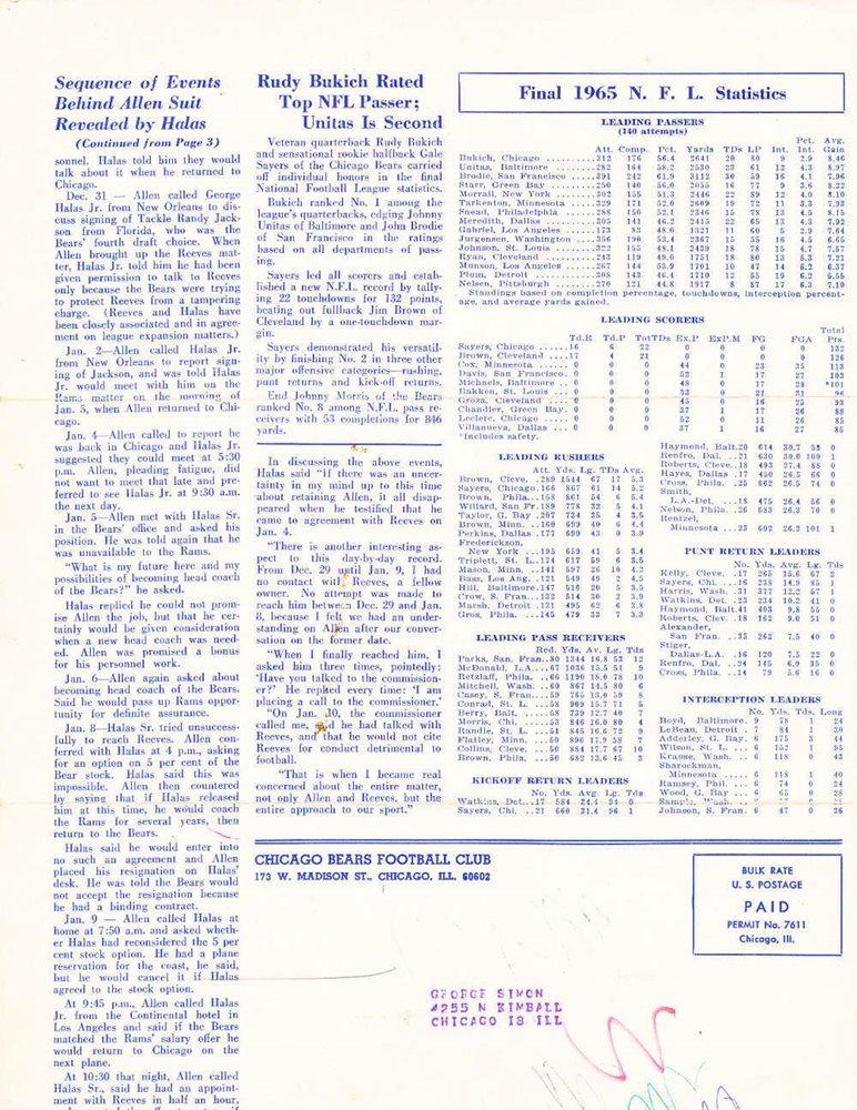 March 1966 Chicago Bears News Newsletter Jim Dooley Fra
