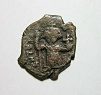 BYZANTINE EMPIRE, BRONZE FOLLIS. CONSTANS II, 641-668 AD. COSTANTINOPLE MINT