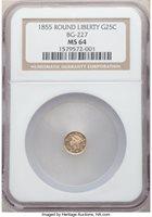 1855 25C BG-227 MS64 NGC