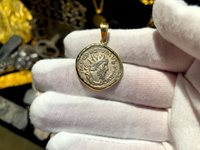 ROMAN EMPIRE POSTUMUS 18KT GOLD BEZEL PIRATE GOLD COINS JEWELRY NECKLACE PENDANT