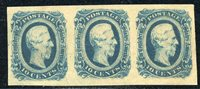 #CSA12 Mint NH XF Strip of 3 Deep Blue, usual toned gum 2021 Scott Cat. $63 as 3 singles Item Number: 20 Our Selling Price: $55.00